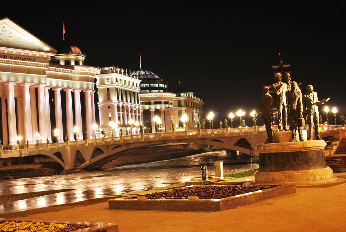 Skopje-by-night-North-Macedonia